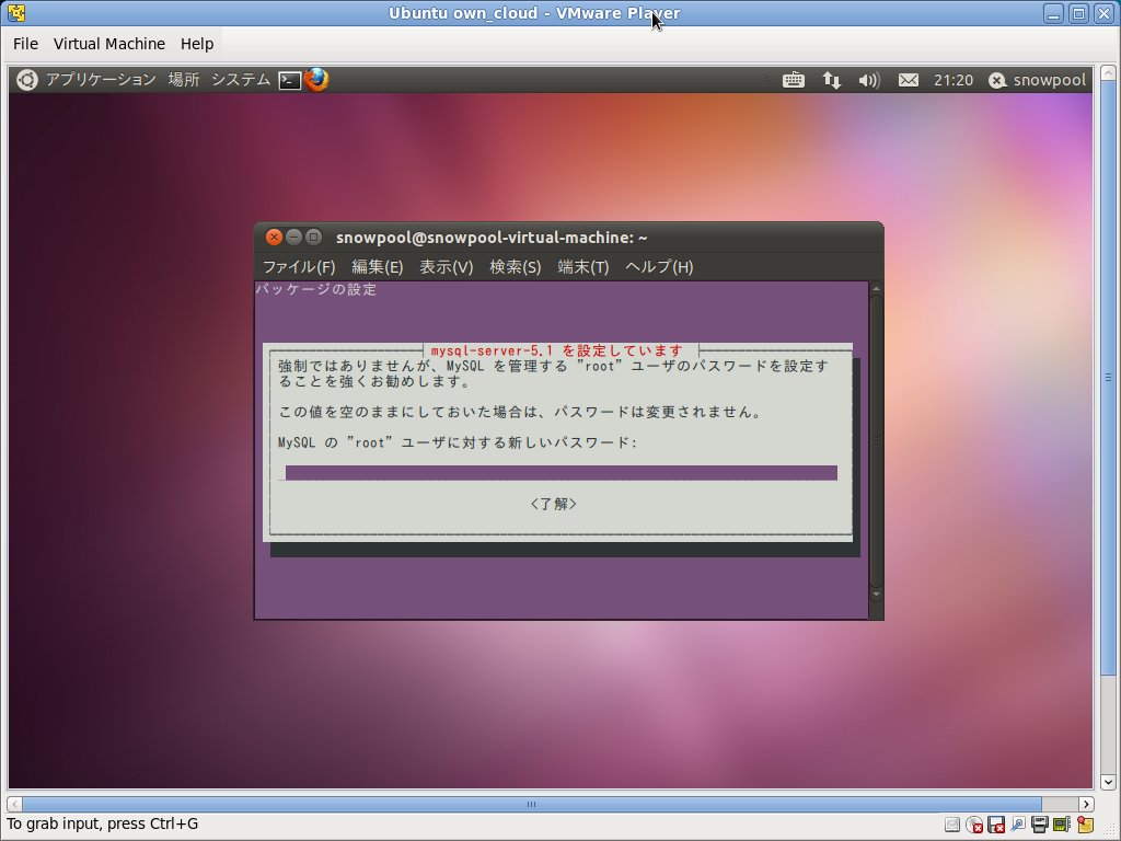 Screenshot-Ubuntu own_cloud - VMware Player